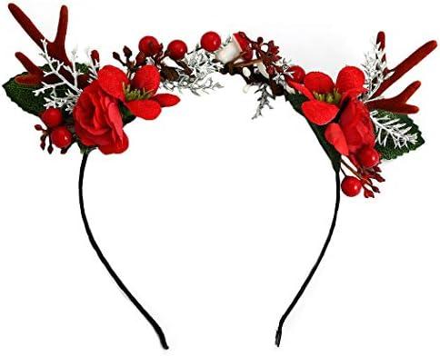 Unicra, cerchietto natalizio con corna di fiore, cervo, corna di cervo, copricapo per Halloween, accessorio per capelli per donne e ragazze