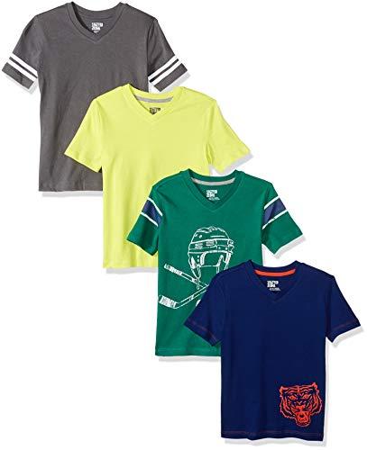 - Amazon Brand - Spotted Zebra Boys' Little Kid 4-Pack Short-Sleeve V-Neck T-Shirts, Hockey, X-Small (4-5)