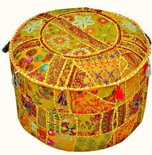 (Indian Embroidered Patchwork Ottoman Cover,Traditional Indian Decorative Pouf Ottoman,Indian Comfortable Floor Cotton Cushion Ottoman Pouf,Indian Designs Ethnic Patchwork Pouf 14x22'' By Rajasthali)