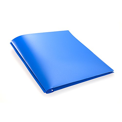 COMIX 2 Pocket Letter Size Poly File Portfolio Folder with Three-Prong Fastners - 12 Pack (Blue)
