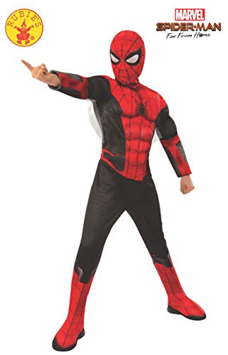 Rubie's Marvel Spider-Man Far from Home Child's Deluxe Spider-Man Costume & Mask, Large Red/Black (Spiderman Deluxe Mask)