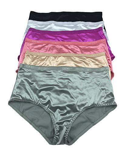 - 6 Pieces Plus Zie Women Tummy Slimmer Briefs High Waist Satin Bikini Panty 2XL - 4XL (4XL XXXXL)