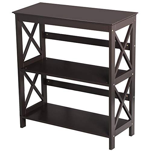 Seleq 3-Tier MDF Double-X-Legs Console Table Bookcase 30""