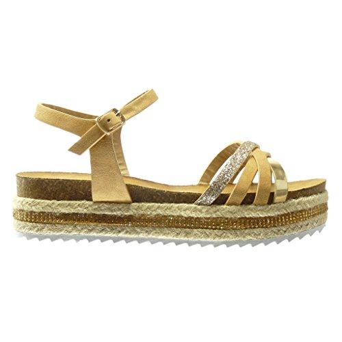Angkorly - Chaussure Mode Sandale Espadrille plateforme femme pailettes multi-bride lanière Talon compensé plateforme 5 CM - Camel