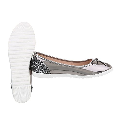 Ital-Design Zapatos Para Mujer Mocasines Plano Slip Gris Plateado M-63