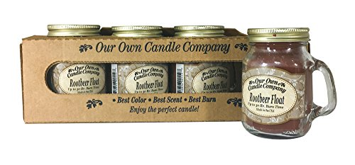 Our Own Candle Company Rootbeer Float Scented Mini Mason Jar Candle, 3.5 Ounce (4 Pack)