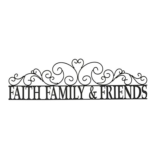 Faith Family & Friends Scroll Metal Wall Art