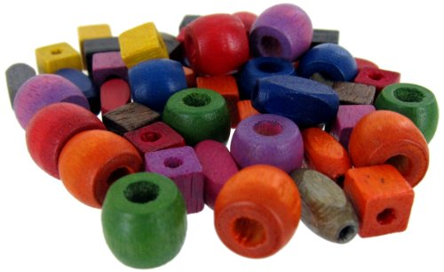 Linpeng 150 PCS Assorted Color & Shape Dyed Wood Beads Wooden Spacer Beads for DIY Jewelry Making and Children's Gift Making/Size 10x8MM Barrel with 4MM Hole/ 11x5MM Rice & 6MM Cube with 2MM Hole ()