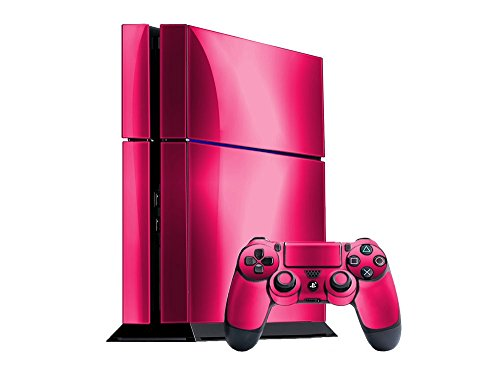 Sony PlayStation 4 Skin (PS4) - NEW - PINK CHROME MIRROR system skins faceplate decal mod by System Skins