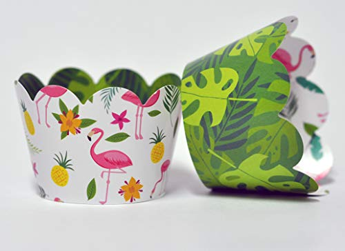 Flamingo Cupcake Wrappers for Kids Birthday Parties, Baby Showers, Bridal Showers, Tropical themed parties and school events. Set of 24 Reversible cute Cup Cake Holder Wraps. Green, Yellow, Pink -
