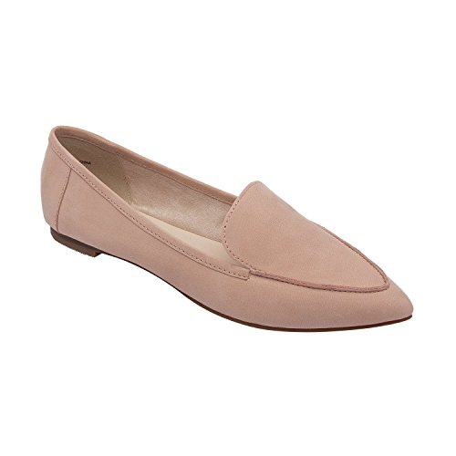 PIC/PAY Monica | Women's Almond Toe Slip-On Comfortable Flat Loafer Blush Nubuck