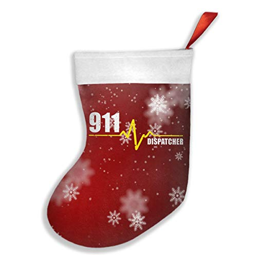 Halloween Display 911 ('911 Dispatcher Heartbeat Thin Gold Line (2) Classic Christmas Stocking Bags Festival Party Ornaments)