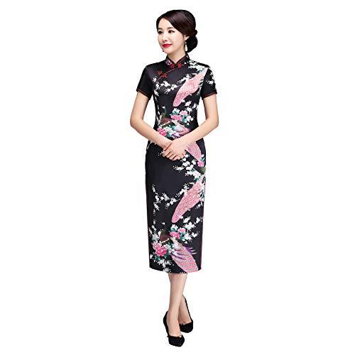 Shanghai Story Peacock Print Long Qipao Chinese Style Dress Cheongam