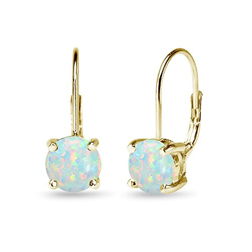 (Yellow Gold Flashed Sterling Silver Polished Simulated White Opal 7mm Round Dainty Leverback Earrings)