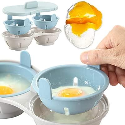 Ibsenon 1PC Microondas Cazador furtivo del Huevo Apto para lavavajillas Cuevas duales escalfado Fabricante de Huevo Dobles hueveras Cocina Microondas ...
