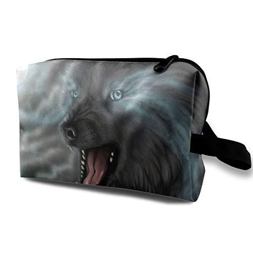Angry Wolf Cosmetic Bags Makeup Organizer Bag Pouch Zipper Purse Handbag Clutch Bag -