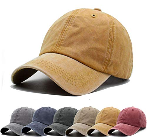 a1b76d5fec5e1 Unisex Vintage Washed Distressed Baseball-Cap Twill Adjustable Dad-Hat  (A11-Yellow(new))