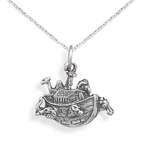 (Noah's Ark Sterling Silver Charm Necklace, 14-inch)