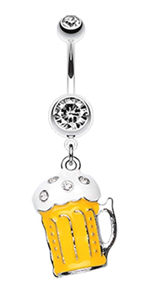 Pierced Owl Frosty Beer Mug Crystal Dangling Belly Button Ring