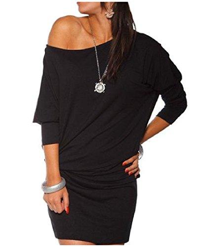 Plus Irregolare Donne Mini Aderente Il Size Mezzo Coolred Nero Vestito Solido Manicotto Delle 4qxEpOtw