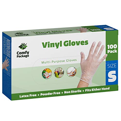 Clear Powder Free Vinyl Disposable Plastic Gloves [100 Pack] - Small