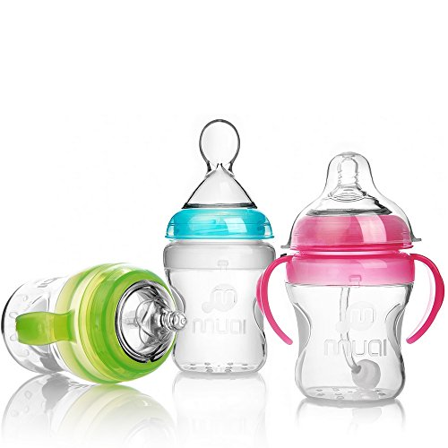 Silicone baby bottles, set of 3anti-colic baby bottles, 100% BPA free new silicone medical grade quality.Masmuki s breast feeding bottles are finally the bottles that give the breast.ideal baby gift