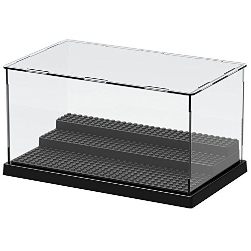 Nokere 3 Steps Display Case/Box Dustproof ShowCase For Blocks Acrylic Plastic Display Assembly Transparent Clear Black Base Box 25.5X15.5X13.8cm