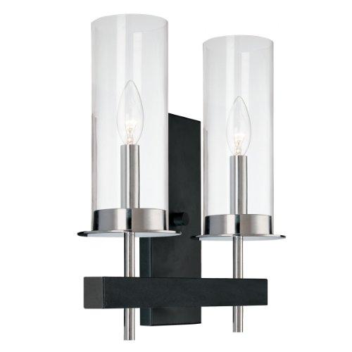 Sonneman 4062.54, Tuxedo Tall Glass Wall Sconce Lighting, 2 Light, Chrome/Black