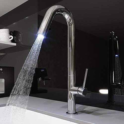 Matte Chrome Led - VIGO VG02030 Oakhurst LED Pull-Down Kitchen Faucet, Chrome