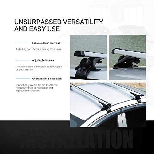 Auxmart 48 Quot Roof Rack System For Cars Without Rails Bare