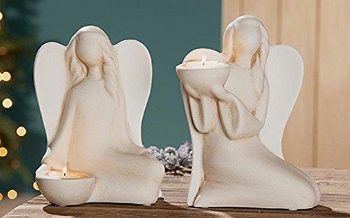 GILDE Keramik Engel Lucina 2 Stück Creme Weiss Teelichthalter hoch L = 11 x B = 17 x H = 22 cm