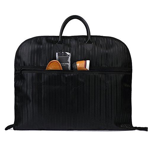 Nornou Foldable Travel Garment Bag Water-resistant Suit Dustproof Bag With Metal Hanging Hook Black