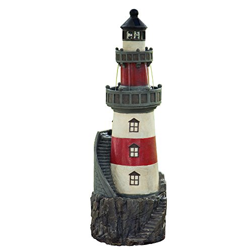 (Peaktop VFD8185 Statue Fountains Peaktop-VFD8185 Outdoor, Rotating Solar Powered Light House, 39