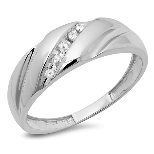 0.08 Carat (ctw) 10K White Gold Round White Diamond Men's Fashion 5 Stone Wedding Band (Size (Diamond Mens Fashion Band)