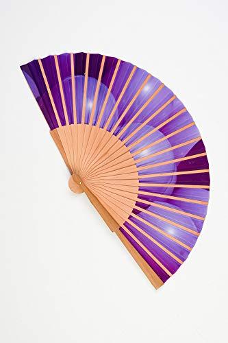 Abanico de madera y tela tacto seda de color morado artesano ...