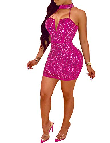 Nhicdns Women Sexy Bodycon Sleeveless Diamonds Mesh Halter Beaded Rhinestones Backless Clubwear Party Mini Dress