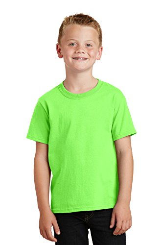 (Port & Company Youth Core Solid Short Sleeve Cotton Tee, L, Neon Green)