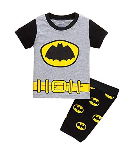 Boys Pajamas 100% Cotton Spiderman Short Kids Snug Fit Pjs Summer Toddler Sleepwear (Batman, 5T)]()