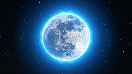 LAMINATED 42x24 inches POSTER: Full Moon Moon Full Night Sky Dark Space Light Black Nature Moonlight Blue Lunar Astronomy Halloween Bright Surface Planet Scene Midnight Sphere Star Cosmos -