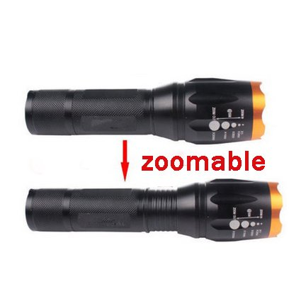 Camping Emergency Pocketman A100 1500LM ECREE XML T6 LED Adjustable Zoomable Focus Tactical Flashlight-5 Light Modes and Water Resistant For Hiking