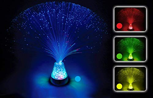 PlayLearn Fiber Optic Lamp Colour Changing Crystal Base - 4 Colours - 13 Inch Mood Novelty -