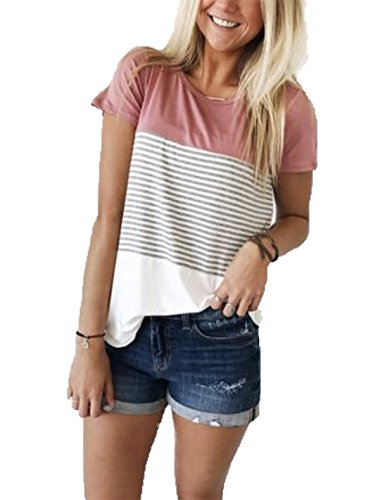 VAYAGER Women's Tee Short Sleeve Loose Soft Summer Vacation T-Shirts Pink XXL (Long Striped T-shirt)