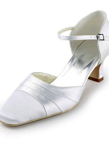 Plat nbsp;soirée Ggx Femmes Rond 2 3 white 4in Bout robe talons amp; fête Des chaussures Mariage 2in Soie Blanche Talon Ijkmn Talon qI677A