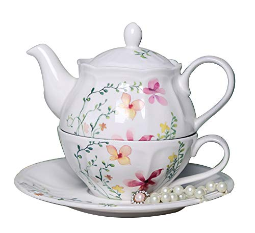 Bone China Tea For One Teapot and Server Set for One, Teapot Cup and Saucer Set Teapot Tea For One B.Hamster Teapot and Cup (Teaforone=White Flower) ()