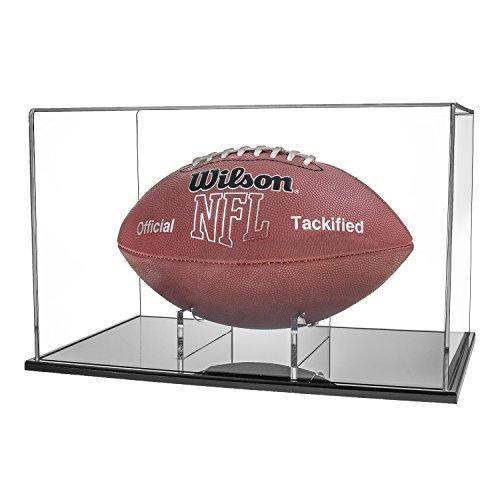 Source One Premium Acrylic Sports Display Case, Baseball, Basketball, Football, & Helmets (Football, Black Base)