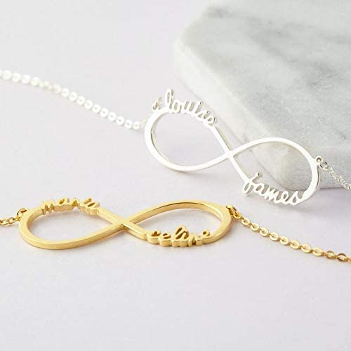 NovGarden Personalized Eternal Infinity Name Necklace Custom Made with 2 Names 14 to 22 18k Plated Gold Nameplate