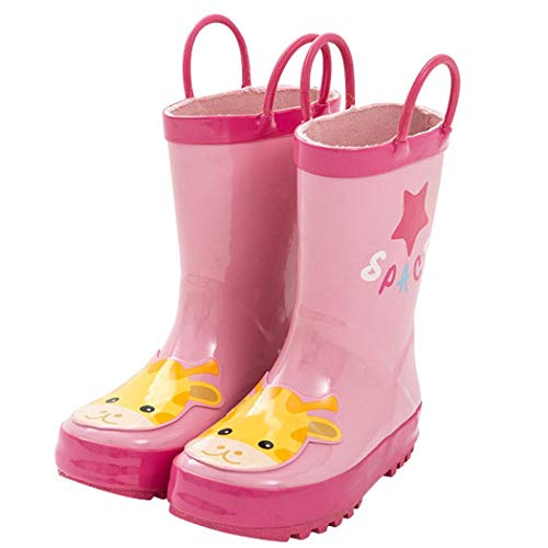 Youandmes Cartoon Waterproof Rubber Rain Boots with Easy-On Handles Boots Pink from Youandmes