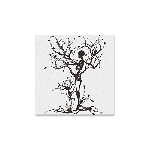 InterestPrint Black and White Sugar Skull The Tree of Life Canvas Wall Art Print Painting Wall Hanging Artwork for Home Decoration 12 X 12 ()