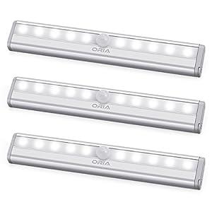 Schrank Auto EIN//Aus LED Nachtlicht Batteriebetriebenes Schrankbeleuchtung Treppen K/üche etc 3er // Wei/ß LED Bewegungsmelder Licht f/ür Schlafzimmer AMIR 6 LED Nachtlicht mit Bewegungsmelder