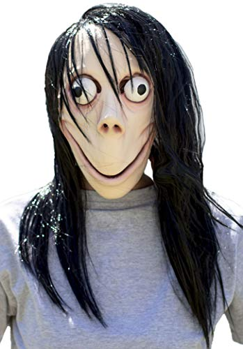MOMO MASK Halloween Props - Scary Creepy Horror Latex Realistic Full Head with Wig Cosplay Costume Mask Party Decoration Beige ()